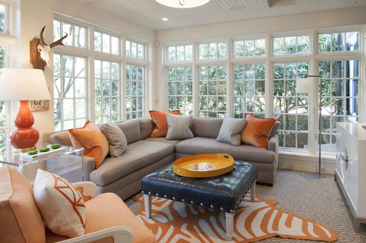 Grey And Orange Living Room grey living room with orange accents - transitional - living room