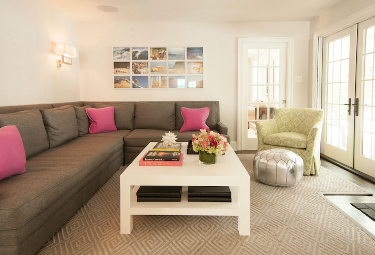 Gray Sectional Sofa With Pink Pillows
