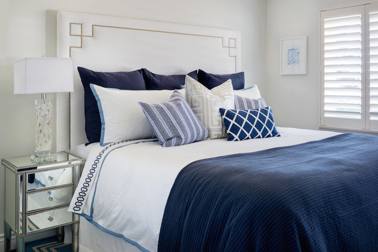 white and navy bedding transitional bedroom colordrunk design. Black Bedroom Furniture Sets. Home Design Ideas