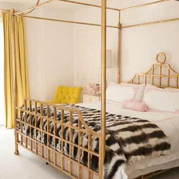 Gold Canopy Bed, Contemporary, Bedroom, Cynthia Brooks Design