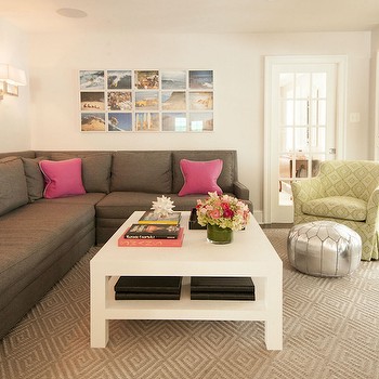 Gray Sectional Sofa with Pink Pillows, Contemporary, Living Room, Cynthia Brooks Design