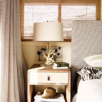Black and White Stripe Curtains and Headboard, Cottage, Bedroom, Studio MRS