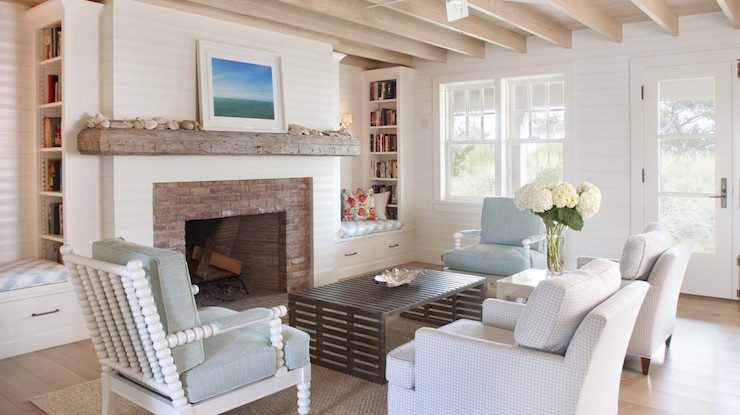 Fireplace With Brick Surround And Chunky Mantle Cottage