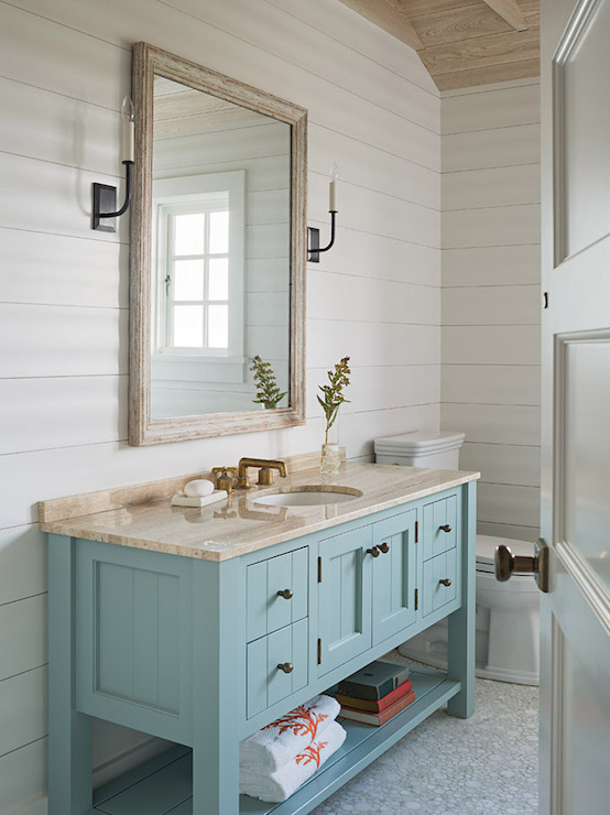 Cottage Bathroom Boasts Shiplap Clad Walls Lined With A Turquoise Washstand  With Shelf Topped With Natural Stone Countertop Framing Round Sink And  Brushed ...