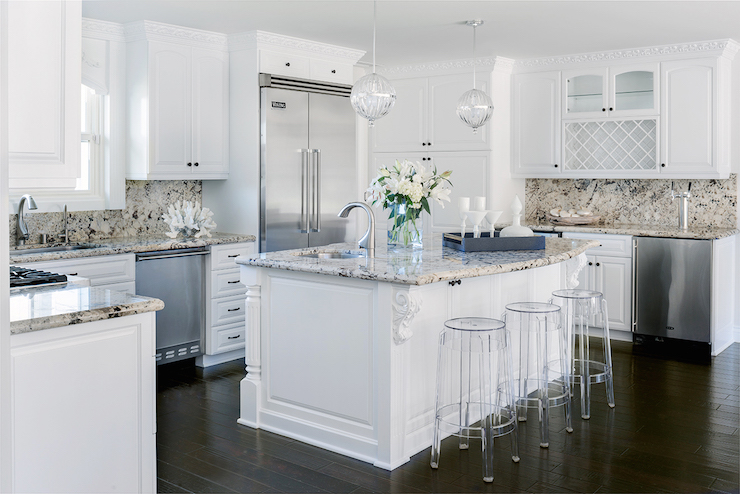 White Kitchen Cabinets with Tan Granite Countertops Transitional
