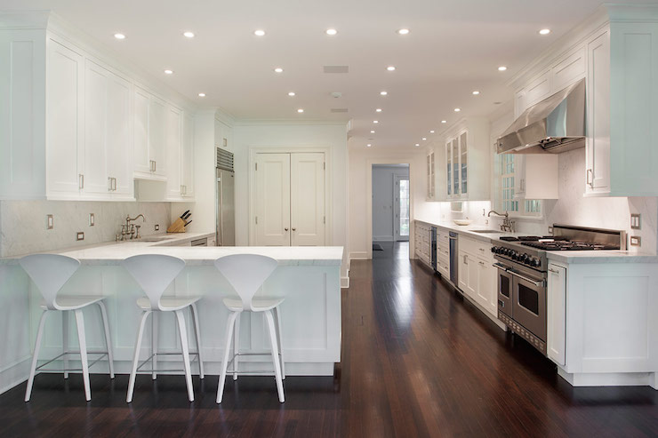 White Cherner Counter Stools Contemporary Kitchen