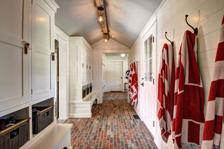 Farmhouse mudroom design country laundry room john for Mudroom floors