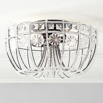Iron Beaded Flushmount, Crystals Chandelier