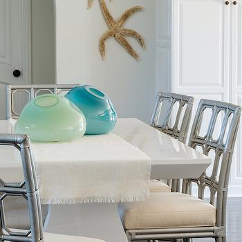 Gray Square Dining Table With White Dining Chairs Transitional Dining Room