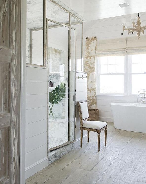 Shiplap Shower Frame - Transitional - Bathroom - John Hummel