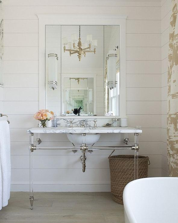 nickel and glass washstand with marble top transitional. Black Bedroom Furniture Sets. Home Design Ideas