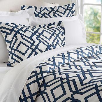 Shelby Geo Duvet Sham, Geometric Blue and White Duvet