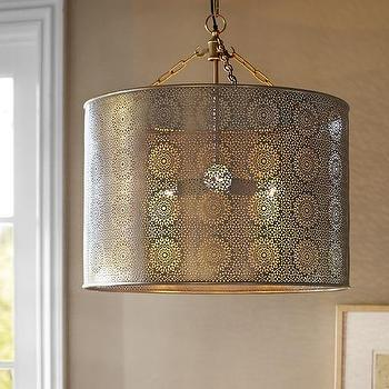 Taza Brass Punched Drum Pendant, Moroccan Pendant