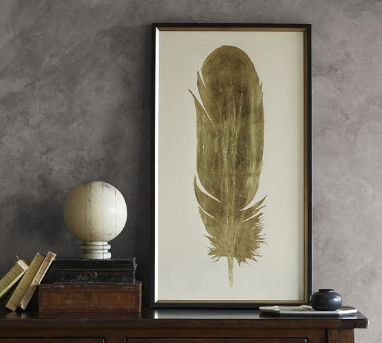 Wall Art Decor Gold : Gold leaf feather wall art