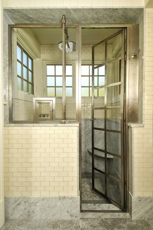 Open Shower With Marble Herringbone Shower Floor