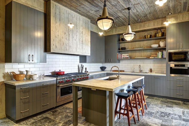 Gray Paneled Kitchen Cabinets