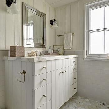 White Paneled Bathroom Vanity, Country, Bathroom, John Hummel