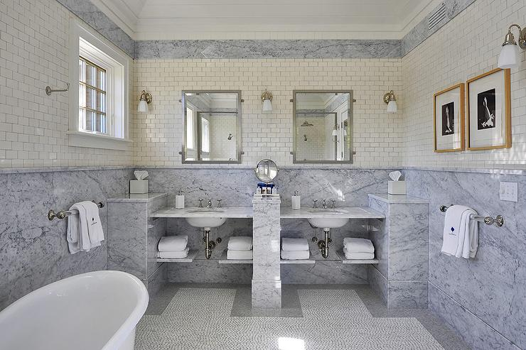 Marble Slab Wainscoting Cottage Bathroom John Hummel