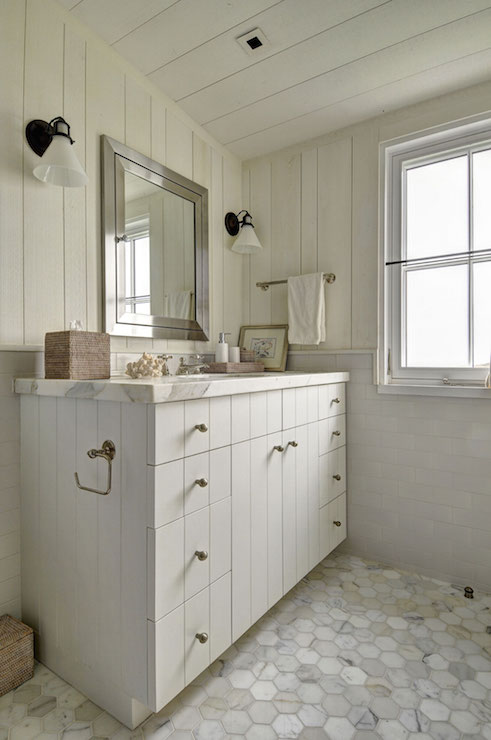Bathroom With Plank Walls And Ceiling Country Bathroom