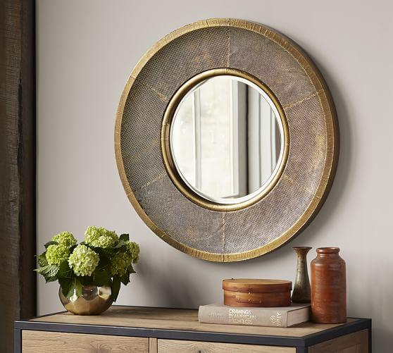 Round Clad Print Gold And Silver Mirror