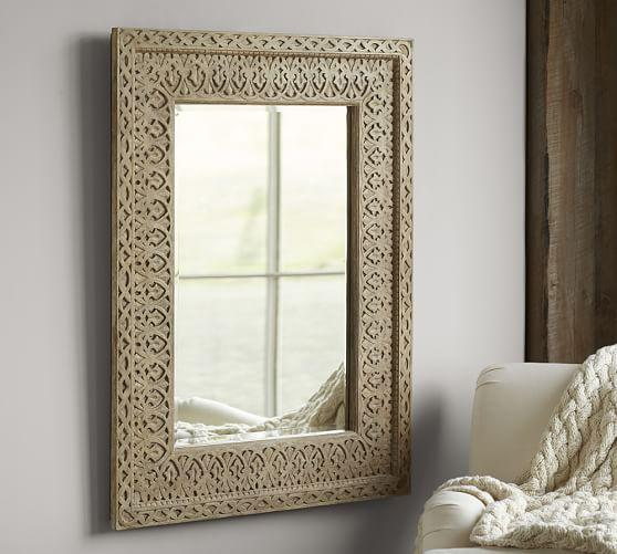Filigree Moroccan Beige Lattice Mirror
