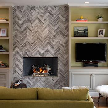 Fireplace with Gray Built Ins - Transitional - Living Room