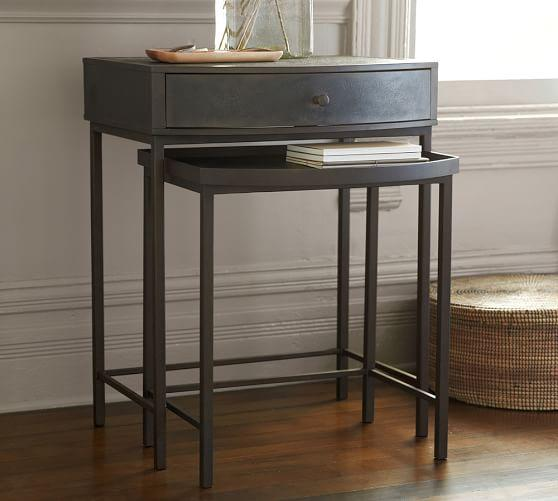 Woodrow Black Metal Nesting Bedside Table