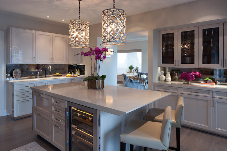 Quatrefoil Pendant Lights Contemporary Kitchen James Thomas - Light gray kitchen island