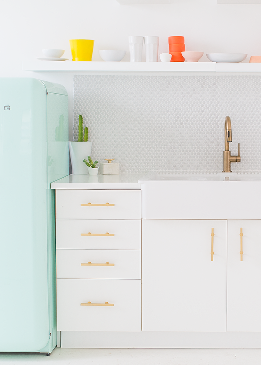 Vintage Kitchen Features White Base Cabinets, Ikea Sektion, Adorned With  Brushed Brass Pulls, Lewu0027s Hardware 3 3/4 In Center To Center Brushed Brass  Bar ...