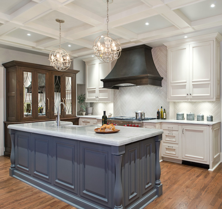 Black Kitchen Cabinets Paint Color: Gray Herringbone Tiles