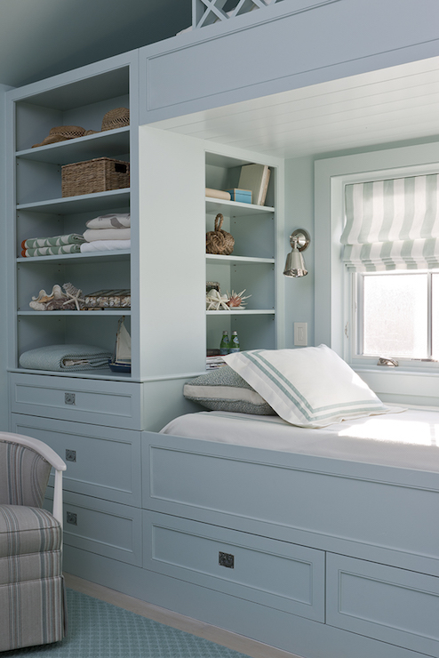 Amazing SCW Interiors   Gorgeous Blue Kidu0027s Room Features A Built In Window Bed  Painted Blue Dressed In White And Blue Hotel Bedding Situated Under Window  Dresser ...