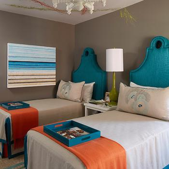 Turquoise Keyhole Headboards, Contemporary, Bedroom, C2 Wall Street, Artistic Designs for Living