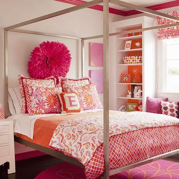 interior design inspiration photos by artistic designs for 19353 | m pink and orange kids room architecture bed window seat with bookcase