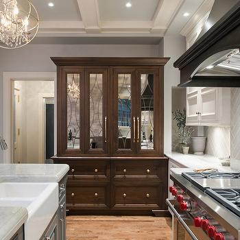 Hutch with Mirrored Doors, Transitional, Kitchen, Benjamin Moore Repose Gray, Kitchen Studio KC
