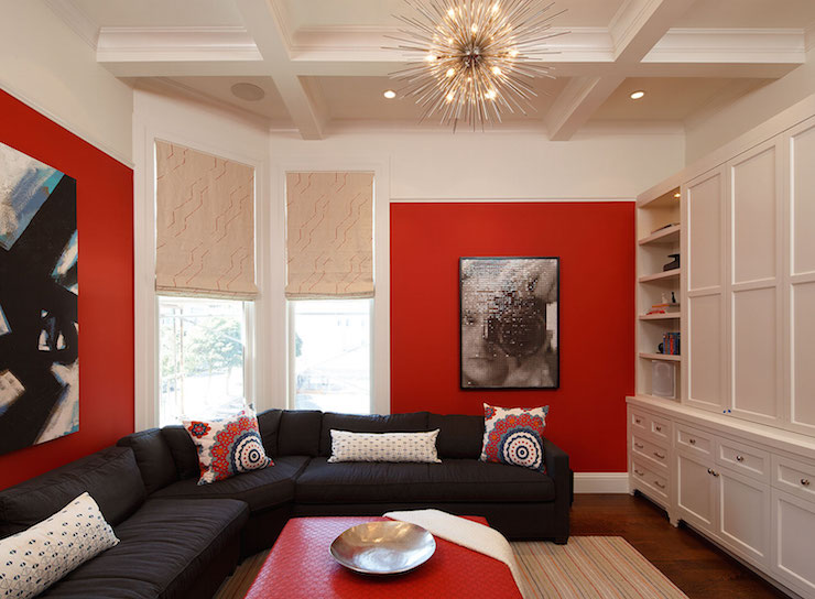 Red Living Room: Chevron Drapes
