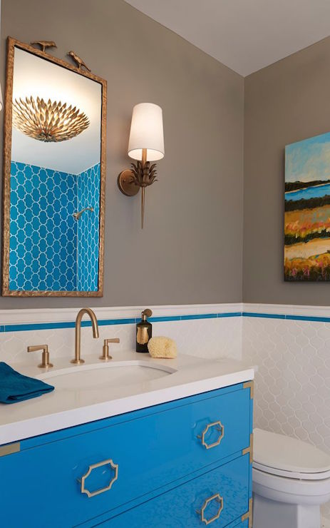 Gray and turquoise bathrooms contemporary bathroom for Turquoise bathroom decor