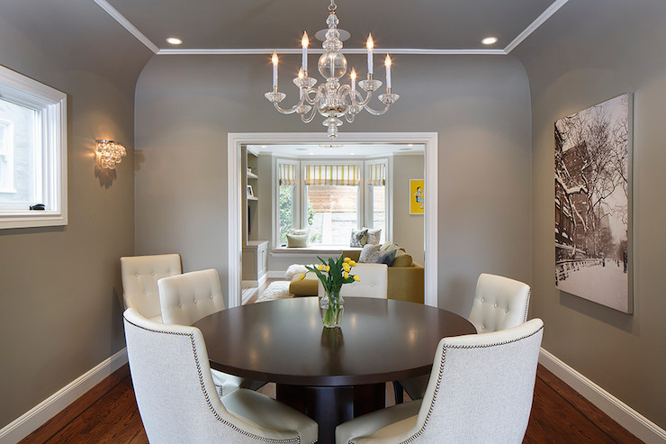 Gray dining room ceiling transitional dining room for What size rug for 12x12 room