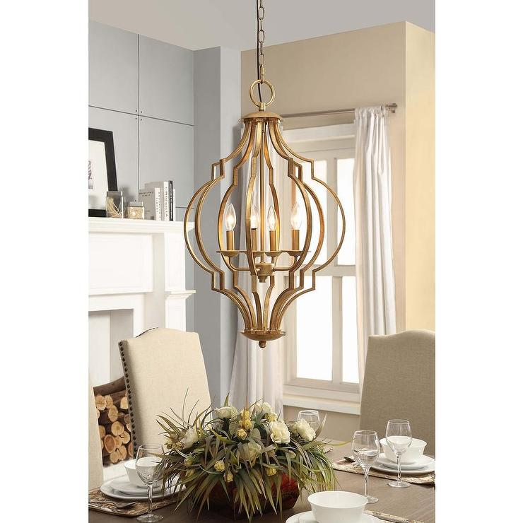 Gold Leaf Trellis 4 Light Chandelier