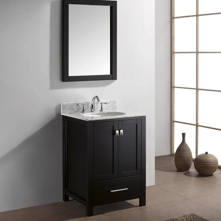 White and Brown Marble Single Bathroom Vanity Set