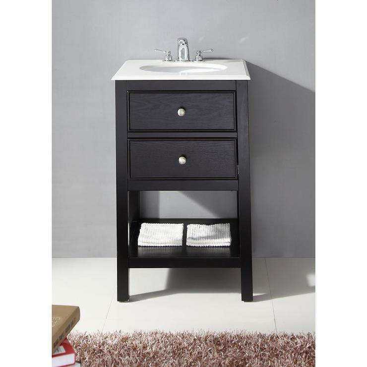 Superbe Fairfield Black 20 Inch Bath Vanity And White Quartz Marble Top