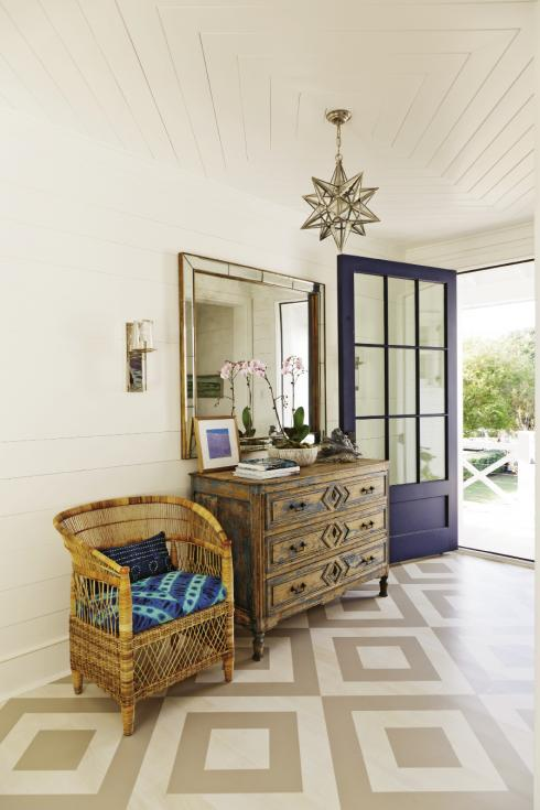 Blue Foyer Door : Foyer with purple chair and rope knot door stopper