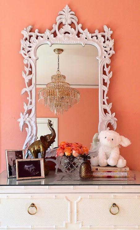 White Baroque Mirror Hollywood Regency Nursery
