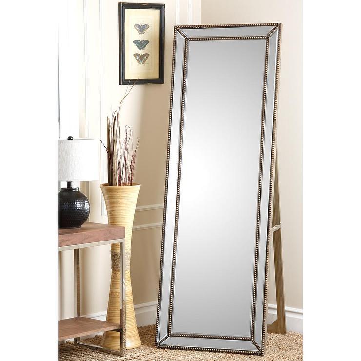 Abbyson Living Cosmo Nailhead Trim Silver Floor Mirror