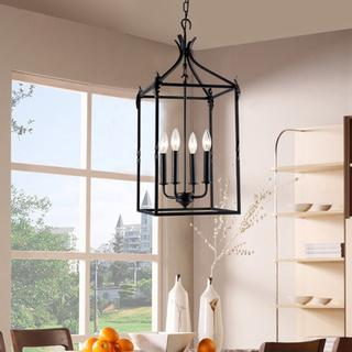 Beatriz 4 light black classic iron hanging lantern chandelier mozeypictures Images