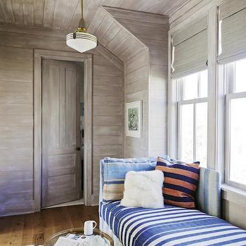 Striped Chaise Lounge, Cottage, Bedroom, Charleston Magazine