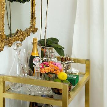 Gold Bar Cart, Contemporary, Dining Room, Luxe Report