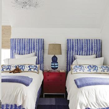 Blue and Red Kids Bedroom, Cottage, Boy's Room, Charleston Magazine