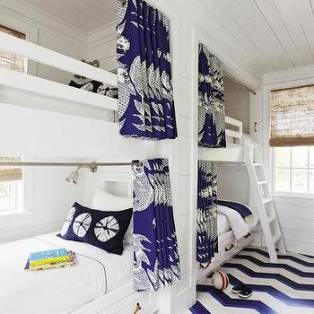 Built In Bunk Beds with Rope Hardware, Cottage, Boy's Room, Charleston Magazine