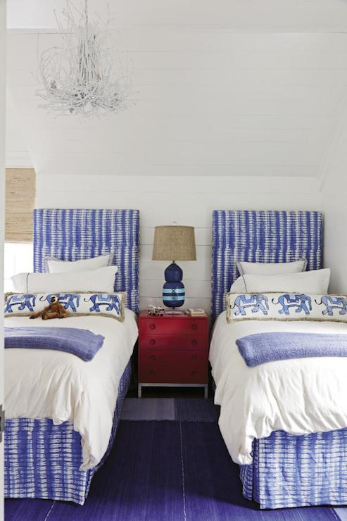 Red Bed with Blue Buffalo Check Bedding Contemporary