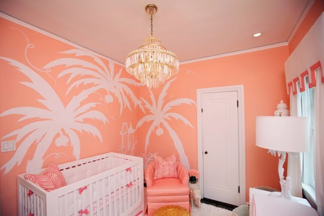 Nursery With Coral Paint Hollywood Regency Nursery